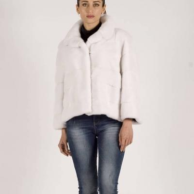 Giacca di visone bianca