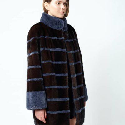 cappottino visone e lana mogano e blu