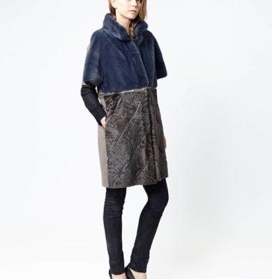 cappottino visone bicolor con zip