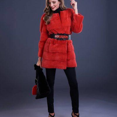 Giaccone in visone rosso - Art.114